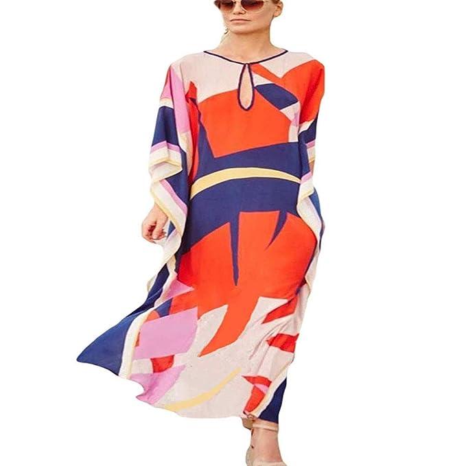 Lazzon Vestido Largo de Playa Mujer Verano Traje de Baño Bohemio Maxi Caftán Túnica Talla Grande Pareos