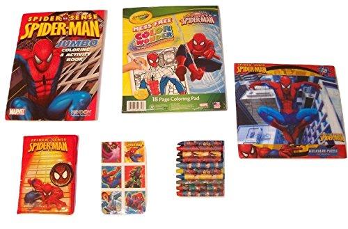 MarvelスパイダーマンアクティビティGiftセット~ Spideyジャンプ(ジャンボカラーリングBook  Lenticularパズル、Crayolaカラーリングパッド、Journal with Velcroタブ、ステッカー、クレヨン; 6Items、1バンドル)の商品画像