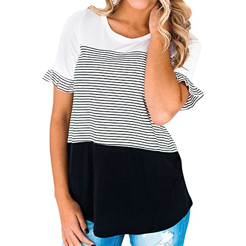 〓COOlCCI〓Women's Casual Short Sleeve Round Neck Top Triple Color Block Stripe T-Shirt Tunics Blouse White