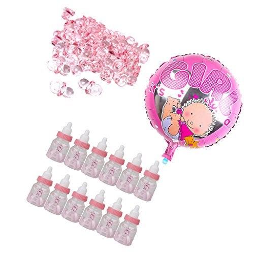Dovewill 50pcs Mini Pacifier Charms Baby Shower Party Kids Birthday Girl Round Balloon 12pcs Candy Milk Bottle Boxes Nappy Cake (Nappy Candy)