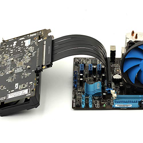 - PCI Express PCIe3.0 16x Flexible Cable Card PCIe Riser GPU Extension Mount Adapter High Speed Riser Card 180 Degree 9cm