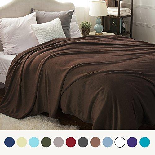 Bedsure Flannel Fleece Luxury Blanket Brown Queen Size Light