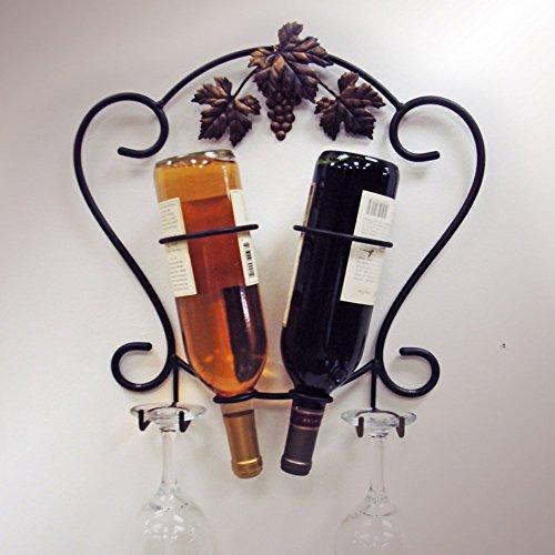 J&J Wire 2-Bottle Wine/Glass (Metal Grapes Wine Bottle Holder)