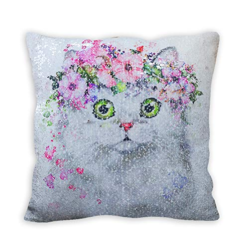 FanRich Reversible Sequin Mermaid Pillow Case 16x16, 40x40cm Cushion Cover, Pillow Cover for Home Decor and Party (Cat-Pink Gradient)
