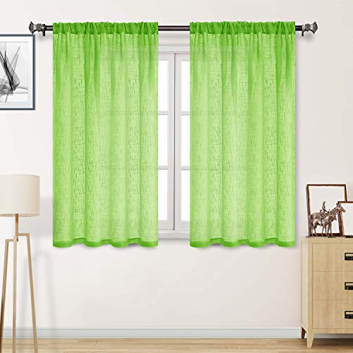 DWCN Faux Linen Sheer Curtains - Textured Rod Pocket Semi Voile Bedroom and Living Window Curtain Panels, Set of 2 Panels, 52 x 54 Inch, Fluorescent Green (Curtain Lime Panels Green)
