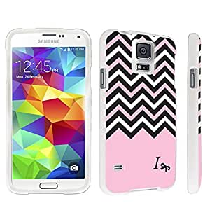 DuroCase ? Samsung Galaxy S5 Hard Case White - (Black Pink White Chevron I)