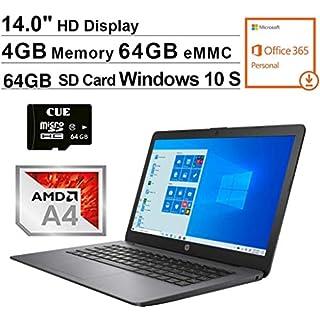 2020 Newest HP Stream 14 Inch Laptop, AMD A4-9120e up to 2.5 GHz, 4GB RAM, 64GB eMMC, Windows 10 , Black + CUE 64GB MicroSD Card Bundle