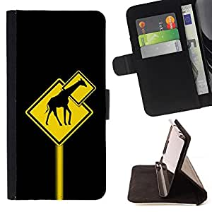 - Funny Giraffe Traffic Sign/ Personalizada del estilo del dise???¡¯???¡Ào de la PU Caso de encargo del cuero del tir???¡¯????n del s - Cao - For Samsung