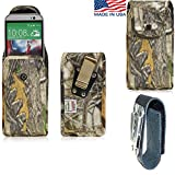 Rugged Hunter Camo Canvas Super Strong Duty Belt Case Vertical with Metal Clips fits Samsung Galaxy S6 Edge with an Otterbox Defender Case on it.. Strong Snap shut for extra protection. Great for Police, Contractors, Landscapers and Tough Jobs.