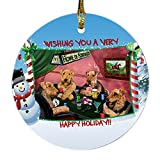 Home of Airedales 4 Dogs Playing Poker Photo Round Christmas Ornament