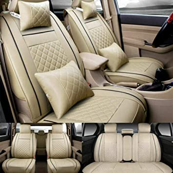 Fitted Car Seat Covers for Honda Accord Sedan /& Coupe Beige Black  PU Leather