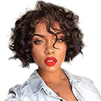 Short Human Hair Wigs for Black Women Curly Wavy Lace Front Wig Brazilian Full Lace Wigs with Baby Hair Natural Color(10 inch, 130% density Lace Front Wig)