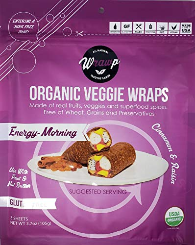 - Organic Veggie Wraps - Mini Energy-Morning Wraps (4 pack) by Wrawp | Perfect for Wraps, Sandwiches, Crackers, Side Bread or a Simple Snack