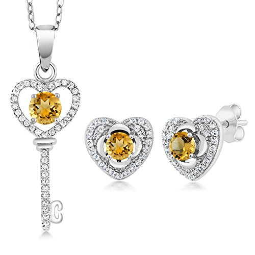 Citrine Earring Pendant - 2.04 Ct Round Yellow Citrine 925 Sterling Silver Pendant Earrings Set