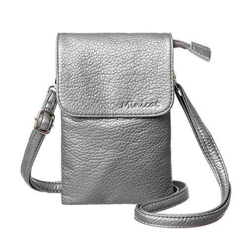 Silver Case Pack - MINICAT Roomy Pockets Series Small Crossbody Bags Cell Phone Purse Wallet For Women(Grey Silver)