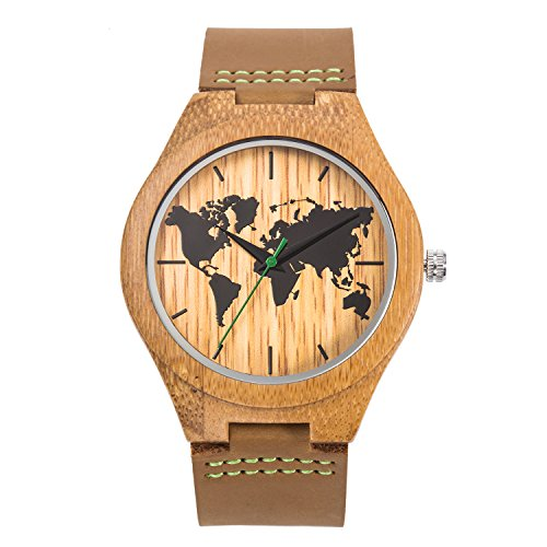 Men's World Map Leather Wood Watch,Natural Handmade Bamboo Leather Wooden Wristwatches with Brown Strap