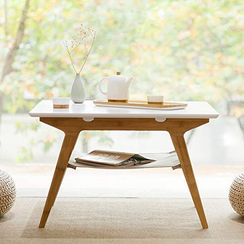 - ZEN'S BAMBOO Square Coffee Table Double Layer Living Room Table with Storage Home Furniture
