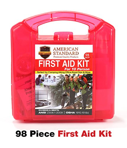 First Aid Kit American Standard Medical Supplies in a Durable Plastic Box, FDA Approved for Car, Home, Office, Work, Boat, RV, Outdoors, Camping, Hiking, Backpacking, Survival & Sports Teams, 98pc (Plastic Gear 1st)