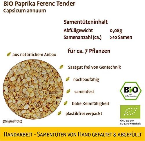 Samenliebe BIO Paprika Ferenc Tender Capsicum annuum Saatgut samenfest in BIO Qualität ÖKO-DE-007 reicht für ca. 7 Pflanzen