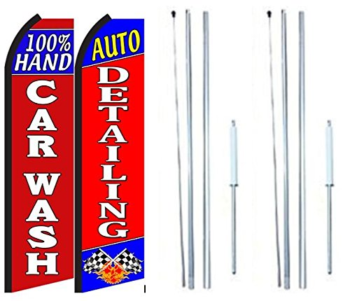 New Hand Car Wash Auto Detailing King Swooper Flag Sign With Complete Hybrid Pole set - Pack of 2 for sale