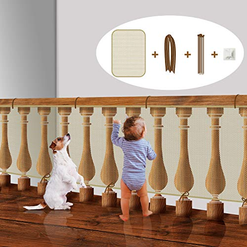 Stair Rail Net for Baby Safety, Balcony Guard for Child Proofing, Banister Guard Mesh for Pets Indoor (Almond, L10xW3 Ft)