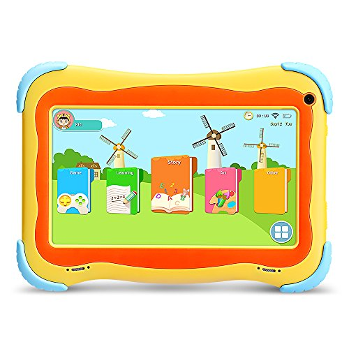 YUNTAB Q91 Kids Edition Tablet, 7 Display, 8 GB, WiFi, Kids Software Pre-Installed, Premium Parent Control, Educational Game Apps, Protecting Silicone Case(CUTE-Yellow-Q91)