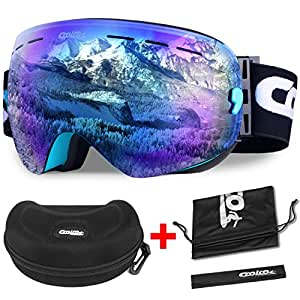 Ski Goggles,COOLOO Snowboard Goggles with Anti-fog UV Protection Interchangeable Spherical Dual Lens - OTG Over Glasses Helmet Compatible for men women boys girls kids