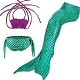 Girls 3 Pcs Mermaid Tail Swimsuit Sets Sea-Maid Swimwear Bikini Bathing Suit,Purple-green,150cm