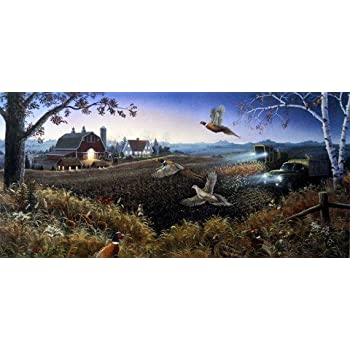 "Evening Harvest By Mark Daehlin Pheasant Farm Art Print  Image 33/"" x 17/"""