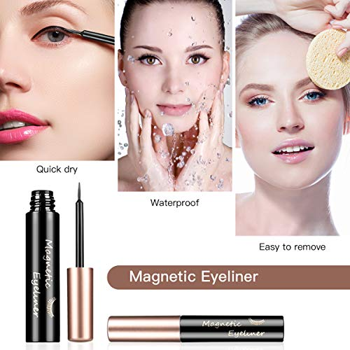 Brightup Magnetic Eyelashes with Eyeliner Kit, 6 Pairs 3D Natural Look Reusable False Magnetic lashes, 2 Tubes Long Lasting Magnetic Eyeliner 10 mL, Twinkle Mirror Box with Tweezers, Ideal For Gift