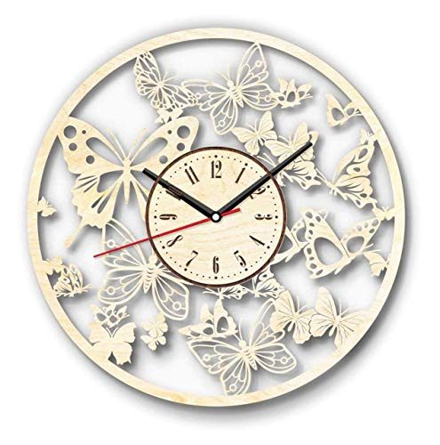 Butterfly Wall Clock Made of Wood Perfect and Beautifully CutDecorate Your Home with Modern Art Unique Gift for Him and Her - Size 12 Inches