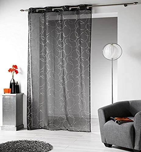 EVIDECO SMO1623132 Printed Sheer Curtain Panel Grommet Silvermoon Gray 55W x 95L Anthracite Silver