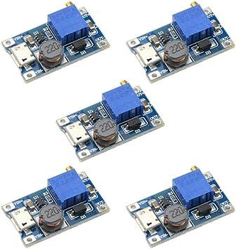 Augiimor 5PCS DC-DC Step up Converter DC Voltage Regulator Voltage Converter MT3608 Boost Converter Module 2V-24V to 5V-28V 2A Output Voltage Adjustable