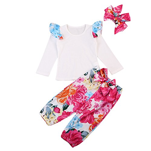 Baby Girls Clothes Set Long Sleeve Cotton T-shirt Top+Floral Bloomer Pants+Headband 3pcs Outfit (0-6 Months, A)