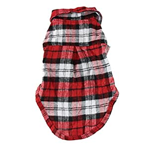 Letdown Pet Clothes, Hot Sale,Handsome Cute Pet Dog Cat Lattice T-Shirt Clothing Small Puppy Costume (XS, Red)