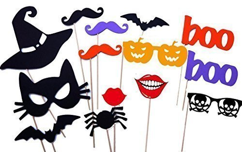 Halloween Masks, Halloween Photo Booth Props, Party Decorations,NO DIY REQUIRED, on a stick ready to be used by -