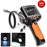 CrazyFire® Digital Endoscope Inspection Camera with 3.5 Inch Removable LCD Monitor 8.2mm Diameter 6 LEDs Waterproof 1M Cable,Hanheld Borescope Snapshot Video Cammera Recorder for Automotive Electrical Plumbing Etc Inspection