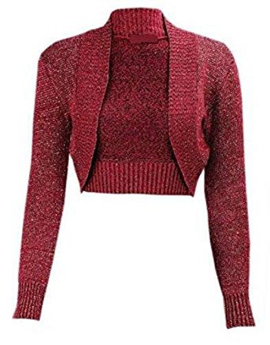 Part Lurex Long Ladies Top Matrimonio Knit Bolero New Metallic Size Pirate Plus Party M98 Sleeve Notte vino Woman aq8Wf