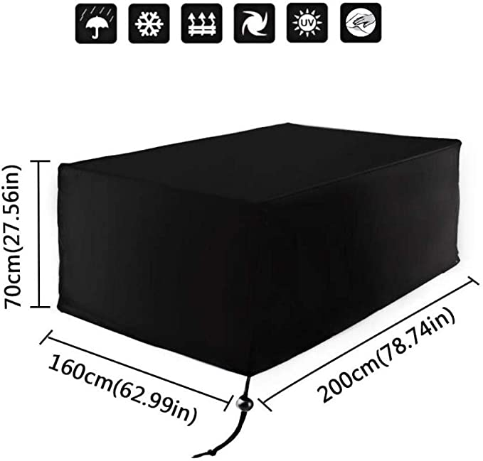 liangh Cubierta Protectora Cubierta De Lona Jard/ín Patio Antipolvo Impermeable Rectangular Cubierta 200 X 160 X 70cm,200x162x70cm