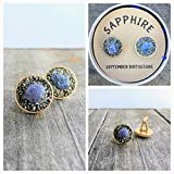 Sapphire September Birthstone Cuff link, Raw Rough Stone, birthstone gift for boyfriend, gift for man, boss gift. anniversery gift
