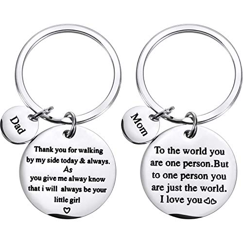Tatuo 2 Pieces Keychain Special Gifts for Mother Father, Mom Dad Gift Set for Birthday, Christmas, Mother's Day Gift, Father's Day Gift from Daughter Son