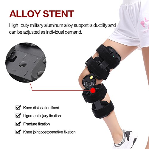 Hinged Knee Patella Brace Support Stabilizer Pad Belt Band Strap Orthosis Splint Wrap Compression Sleeve Immobilizer Guard Protector ROM(range of motion) Adjustable Medical Orthopedic Post-Op by HKJD (Image #4)
