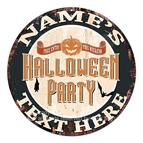Any Name's Any Text Free Entry This Weekend Halloween Party Custom Personalized Chic Tin Sign Rustic Shabby Vintage Style Retro Kitchen Bar Pub Coffee Shop Man cave Decor Gift Ideas]()