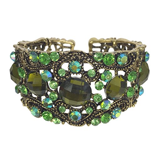 Dark Green Jewel (Stunning Statement Resin Stone and Rhinestone Open Filigree Cuff Bangle Bracelet - Assorted Colors (Green)