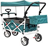 Push Pull Wagon for Kids, Foldable with Sun/Rain Shade Teal