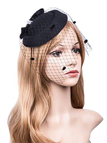Vintage Fascinators 20s 50s Hat Pillbox Hat Cocktail Party Hat with Veil Hair Clip (C-Black) ()