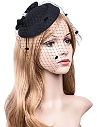 Fascinators Hats 20s 50s Hat Pillbox Hat Cocktail Tea Party Headwear with  Veil for Girls and 41f3ebb5404