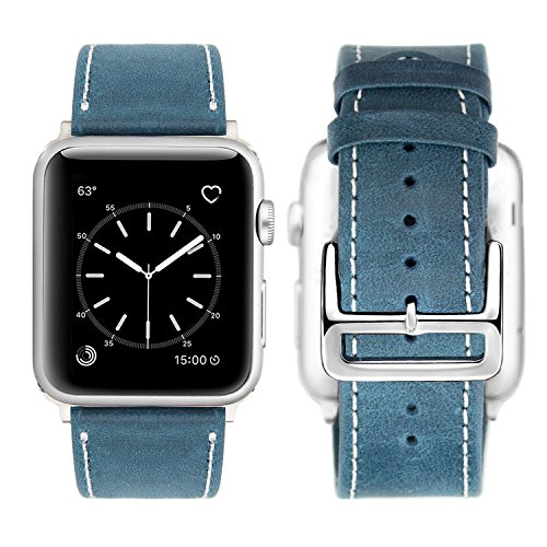Apple Watch Leather Band, 38mm [Vintage Style] Apple Watch Series 3 Band Genuine Leather Replacement Watchband with Stainless Steel Clasp Buckle for 38mm Apple Watch Series 1& 2 - Vintage - Unusual Clasp
