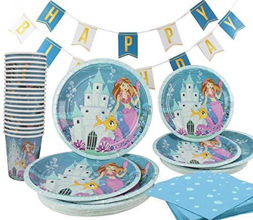 (Mermaid Birthday Party Supplies Under The Sea 141 Piece (Serves 20) Plates Cups Napkins Banner)