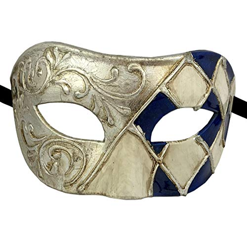(Xvevina Luxury Blue Silver Cool Men Masquerade Mask Halloween Venetian)